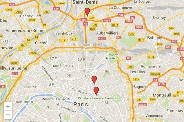 PAris attack map