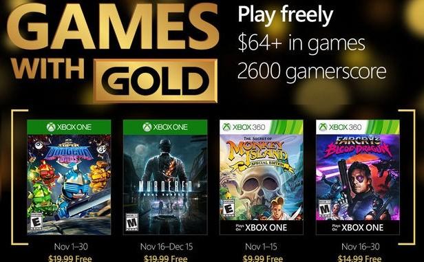 la liste des jeux gratuits xbox novembre 2016 membre Gold