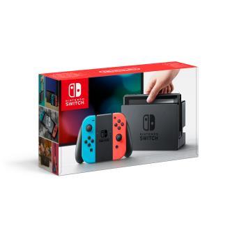 Console Nintendo Switch avec manettes JoyCon néon Rouge bleue