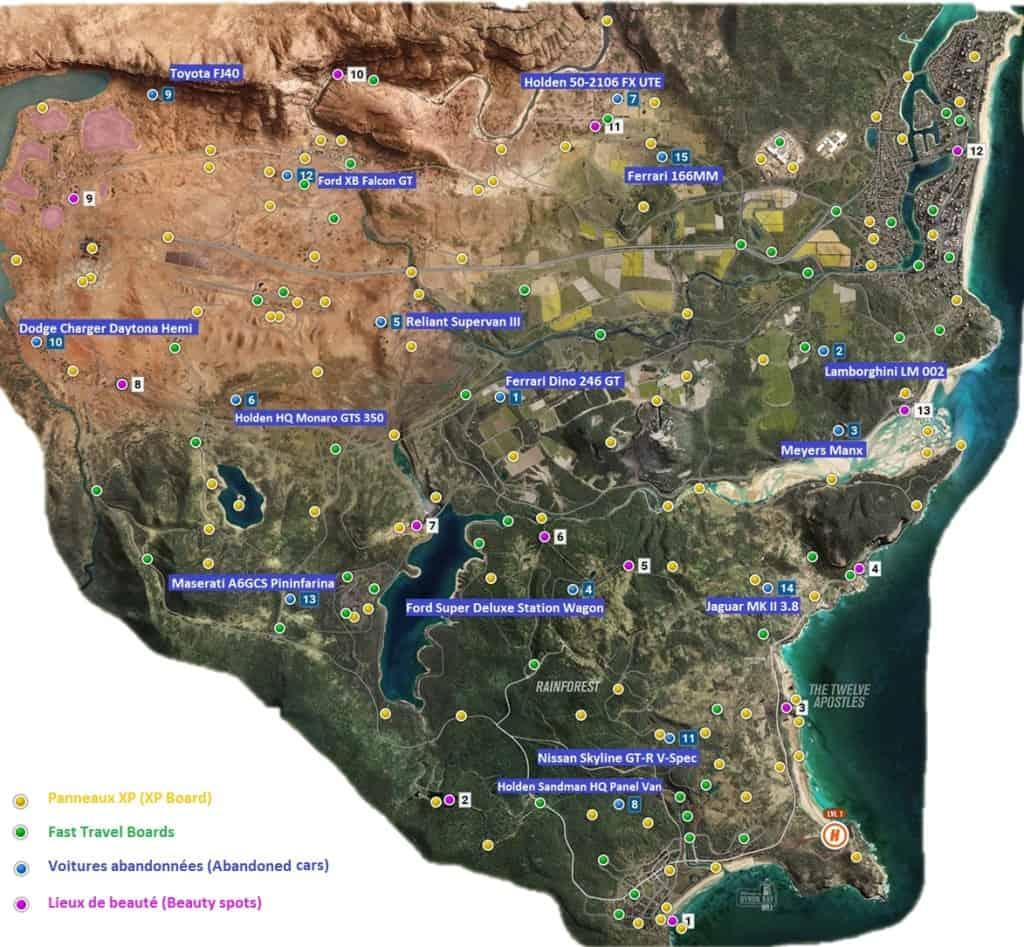 Forza Horizon 3 Map Votre guide pour trouver les trésors et collectibles cachés d Australie