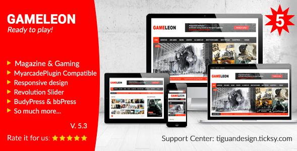 Télécharger Gameleon Responsive Magazine & Arcade Thème WordPress jeux vidéos