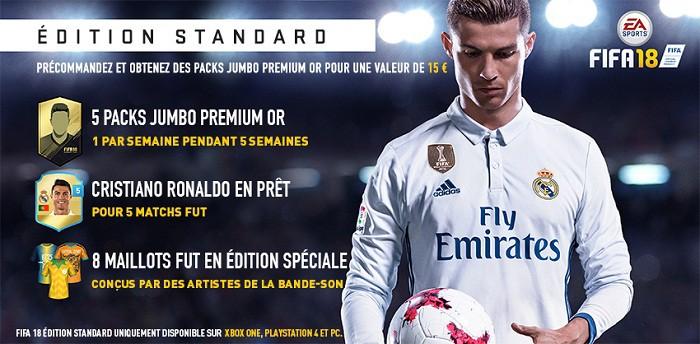 fifa 18 Détails des éditions avec Cristiano Ronaldo en vedette edition standard