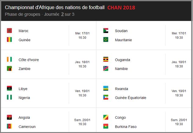 Championnat d'Afrique des nations de football CHAN 2018 journée 2 sur 3