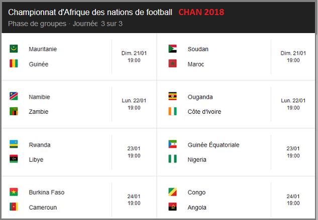 Championnat d'Afrique des nations de football CHAN 2018 journée 3 sur 3