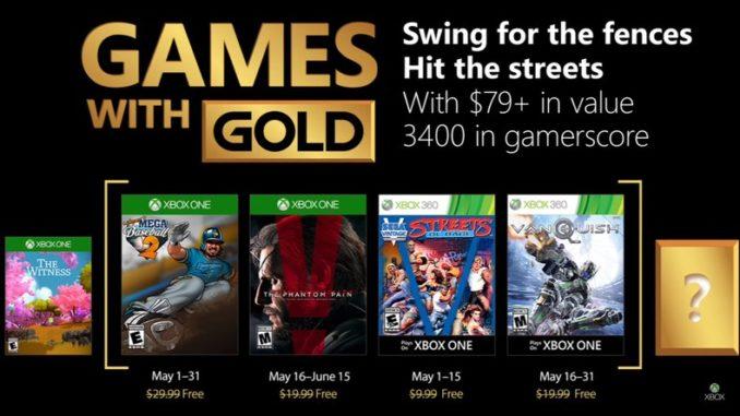 Xbox Live Gold les jeux gratuits du mois de mai 2018