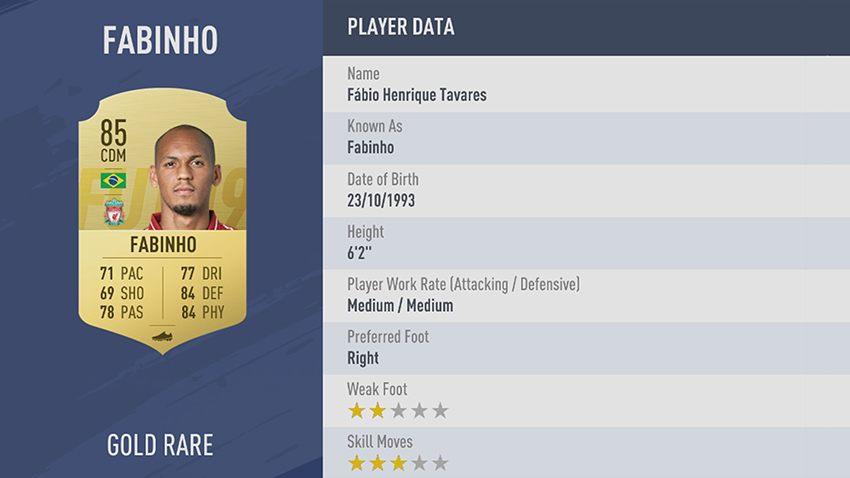 84 - 100 meilleurs joueurs FIFA 19 Fabinho Liverpool