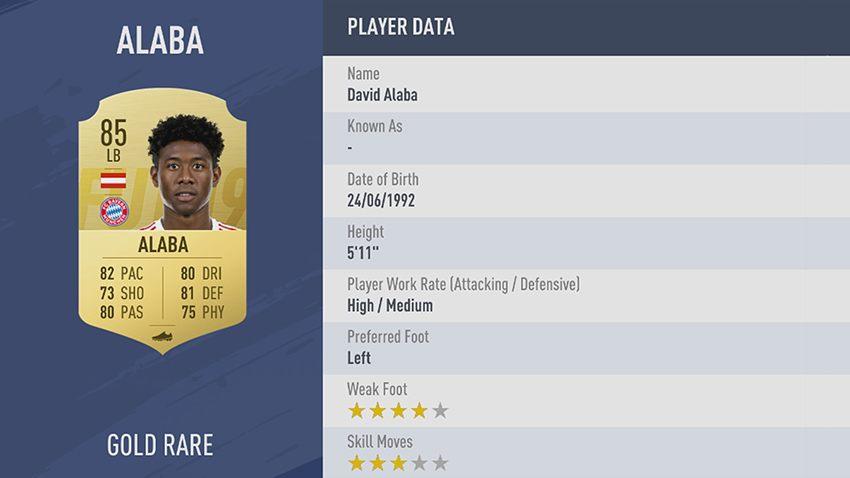 85 - 100 meilleurs joueurs FIFA 19 David Alaba Bayern Munich