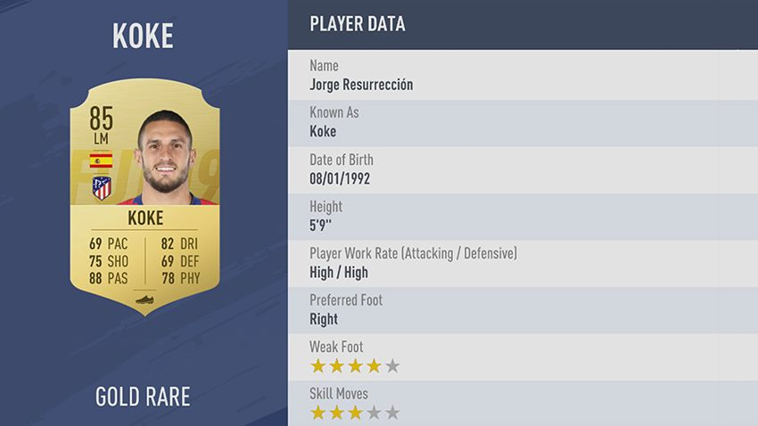 91 - 100 meilleurs joueurs FIFA 19 Koke Atlético De Madrid