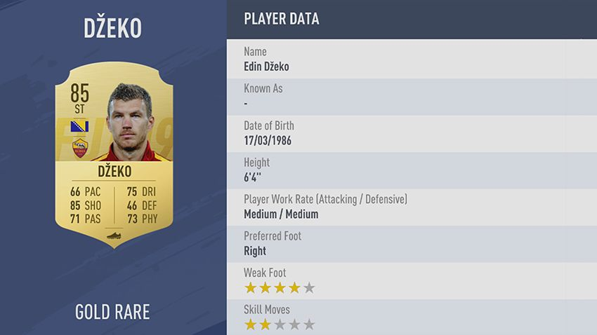 92 - 100 meilleurs joueurs FIFA 19 Edin Džeko AS Roma