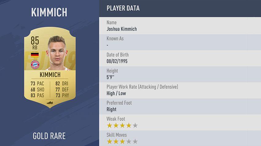 93 - 100 meilleurs joueurs FIFA 19 Joshua Kimmich Bayern Munich