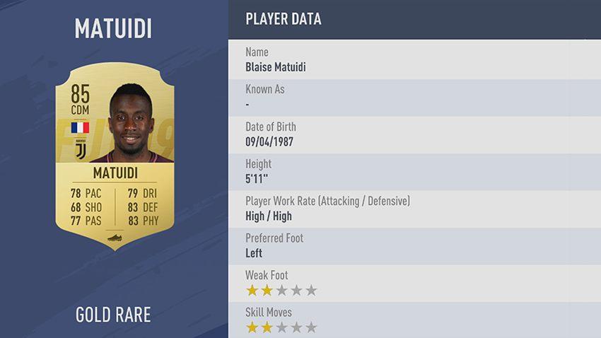 96 - 100 meilleurs joueurs FIFA 19 Blaise Matuidi
