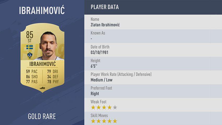 98 - 100 meilleurs joueurs FIFA 19 Zlatan Ibrahimović