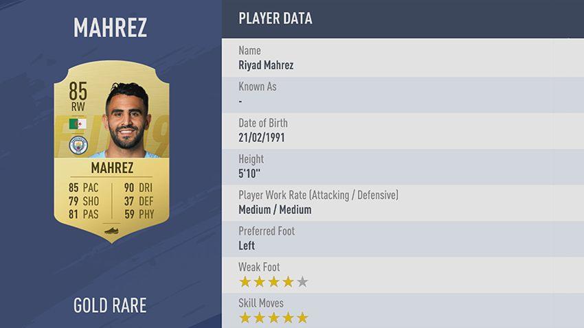 99 - 100 meilleurs joueurs FIFA 19 Riyad Mahrez