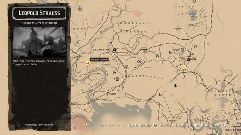 Red Dead Redemption 2 chapitre 2 Mission carte L'usure et autres péchés Partie III -Se rendre à la ferme de Thomas Downes