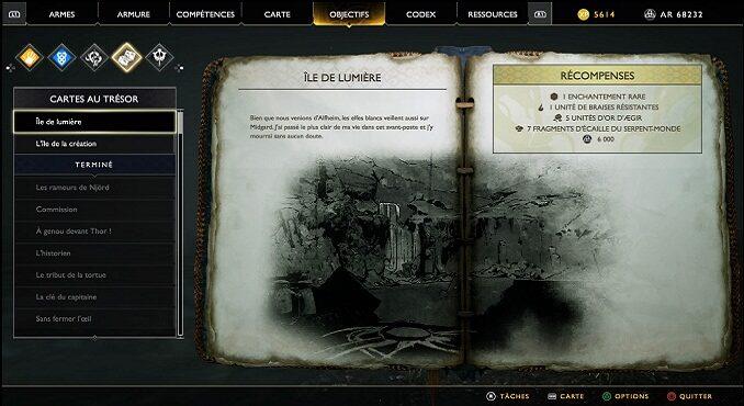 Carte au Trésor Île de Lumière Soluce complète GodOf War PS4