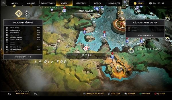 Carte au Trésor L'île de la Création Anse de fer Soluce God Of War 4