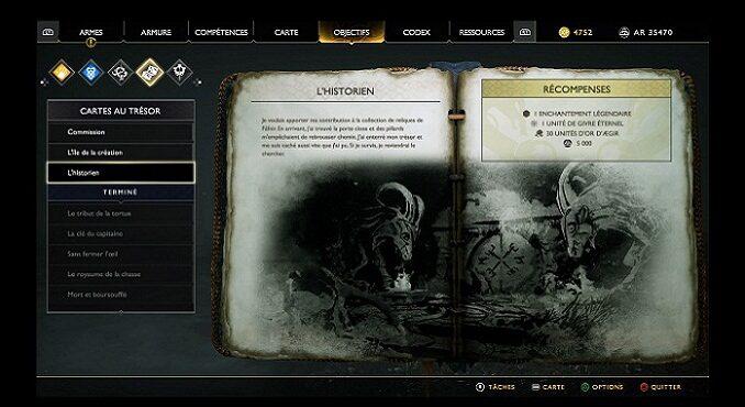 Carte au Trésor L'Historien guide God Of War 2018