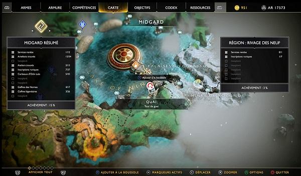Guide God Of War 4 Carte au Trésor Royaume de la Chasse