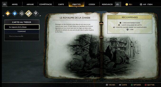 Guide God Of War 2018 Carte au Trésor Royaume de la Chasse