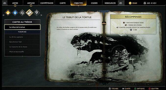 God Of War 4 Carte au trésor Le tribu de la tortue
