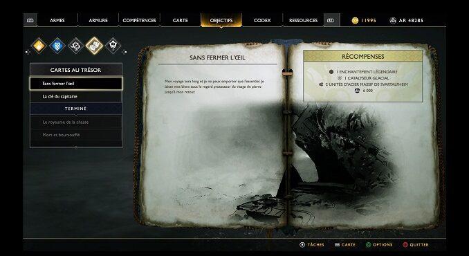 Carte au Trésor Sans fermer l'œil Soluce God Of War 4