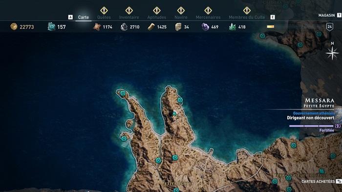 Coffre légendaire Messara-Petite Égypte-Guide AC Odyssey 2018
