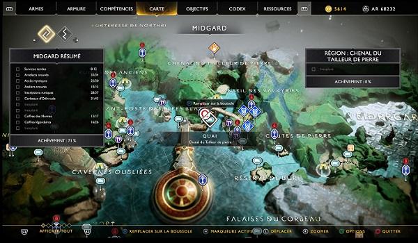localisation Carte au Trésor Île de Lumière guide complet God Of War-4