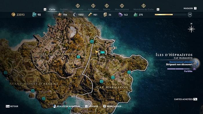 Coffre légendaire Îles d'Héphaïstos - Guide AC Odyssey 2018