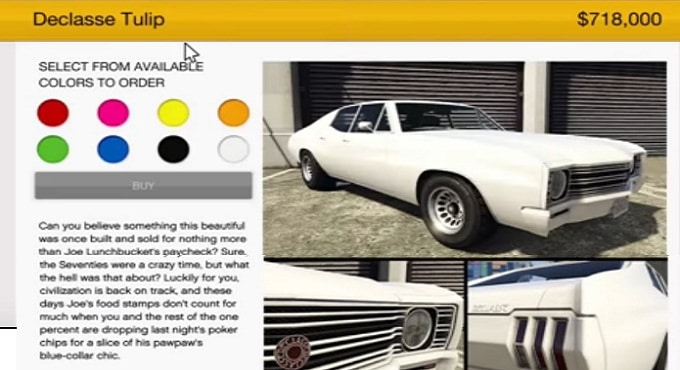 Declasse Tulip customization sur GTA online
