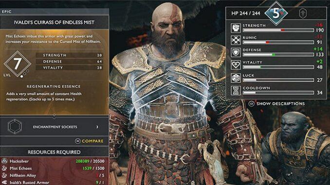 God-of-war-PS4-Cuirasse de Brume éternelle d'Ivaldi