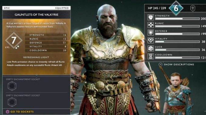 PS4 God of war armure Valkyrie
