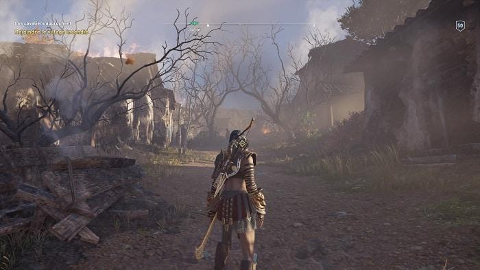 le village incendié Guide AC Odyssey la Traque Legs de la première Lame