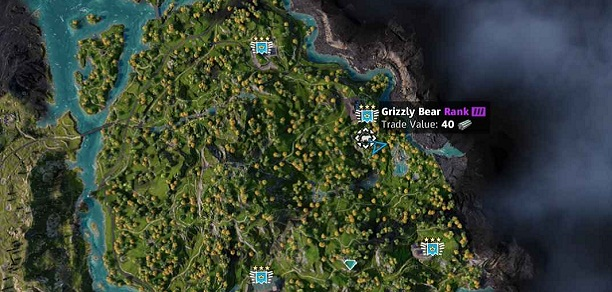 Emplacement-localisation-Ours-Grizzly-Bear-dans Far Cry New Dawn