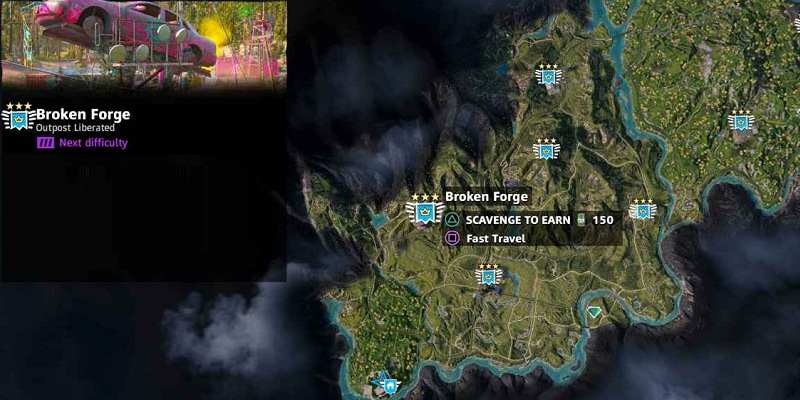 far cry new dawn avant-postes broken forge localisation