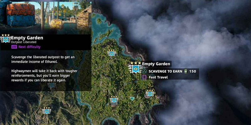 guide far cry new dawn avant-postes jardin vide localisation outposts empty garden