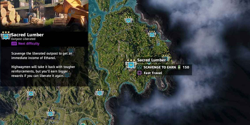 far cry new dawn avant-postes soluce scred lumber bois de charpente localisation outposts