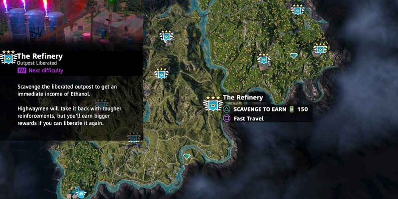 far cry new dawn avant-postes the refinery localisation