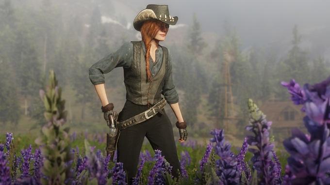 Red Dead Online Chapeau en alligator Mitaines forestières Gilet Ortega