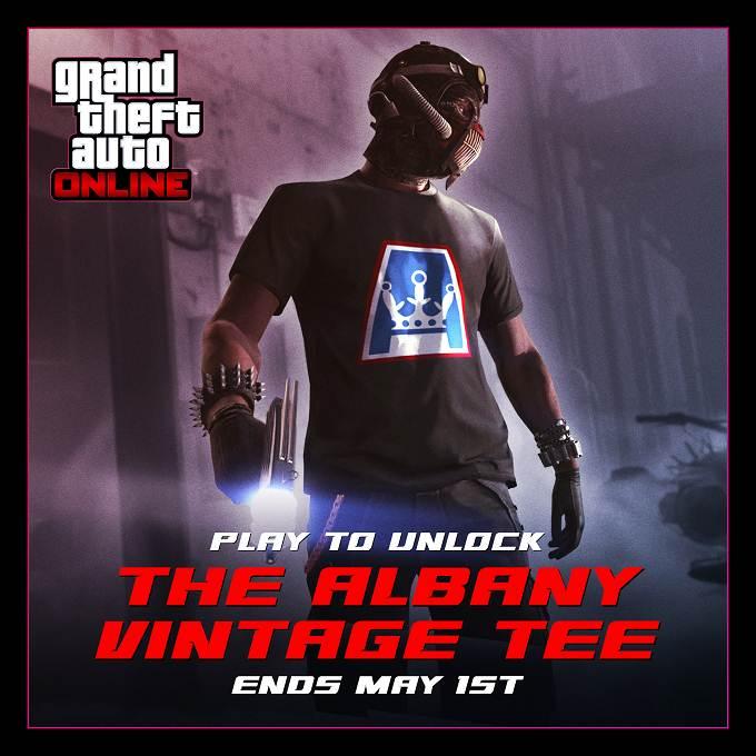 Débloquez t-shirt Albany vintage gta online 2019