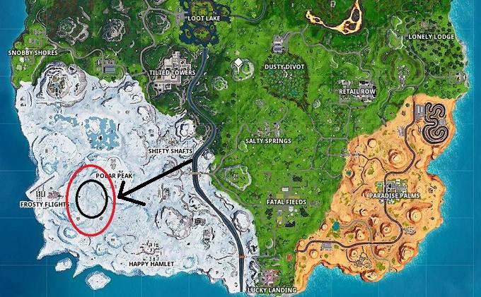 Fortnite Défi semain 9 saison 8 Où danser entre trois sculptures de glace