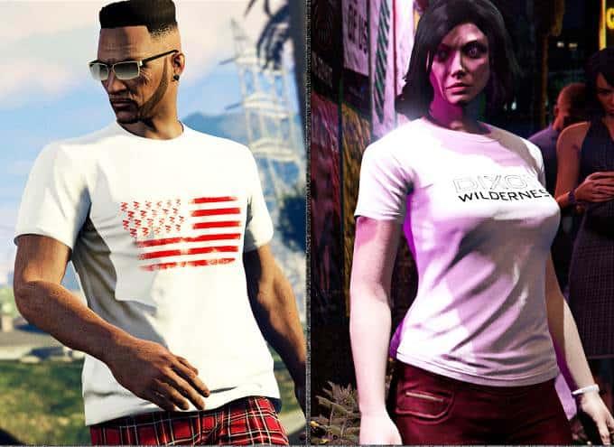 GTA Online débloquer le t-shirt Coil USA et le t-shirt Dixon Wilderness blanc