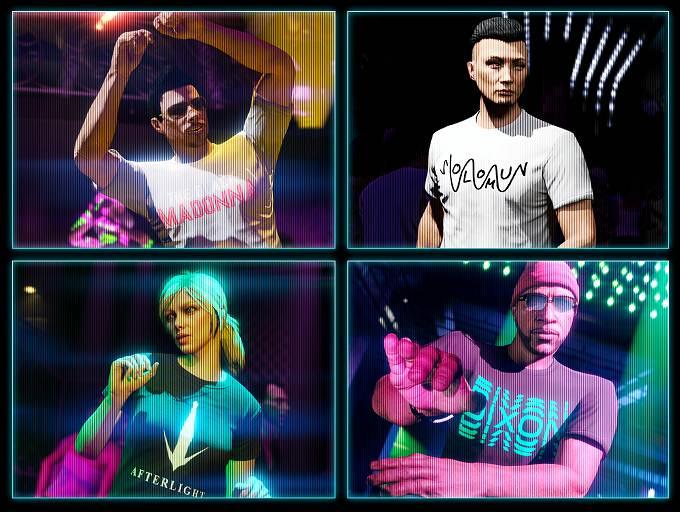 GTA Online débloquer t-shirts logo Solomun blanc, Tale Of Us Afterlight, Dixon bug et The Black Madonna blanc