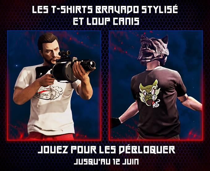 GTA Online mise à jour juin 2019 débloquer t-shirts Bravado stylisé et loup Canis