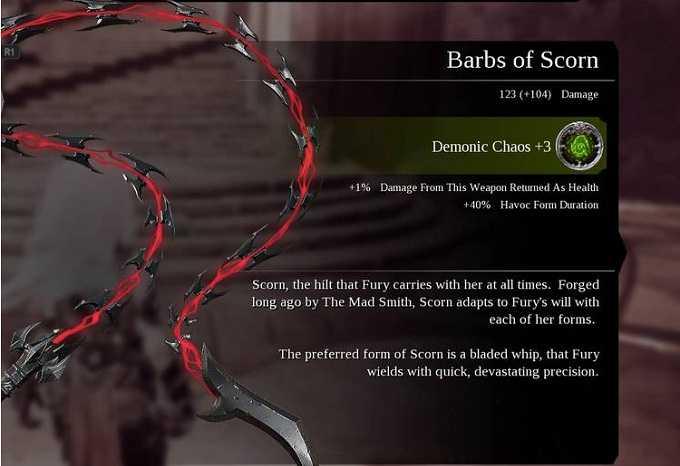 Armes Darksiders 3 Barbs of scrorn