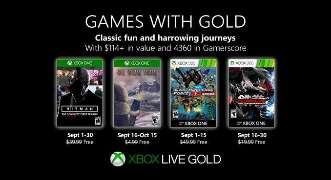 jeux gratuits Games With Gold Xbox One xbox 360 septembre 2019
