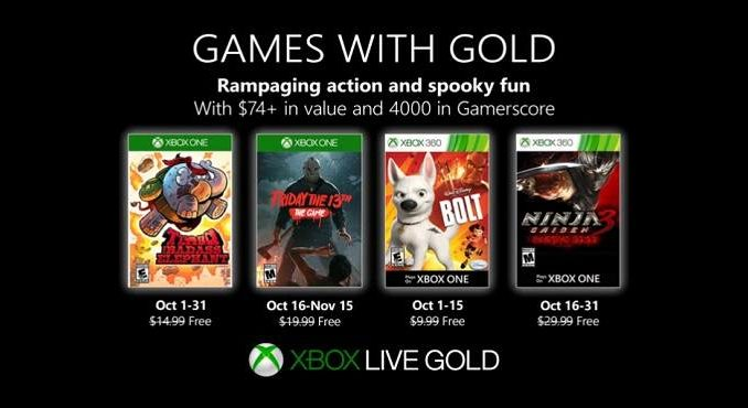 Games With Gold Octobre 2019 Jeux gratuits Xbox One Xbox 360