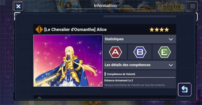 Alice (Le chevalier d'Osmanthe) - 4 étoiles - Personnages SAO Alicization Rising Steel Guide