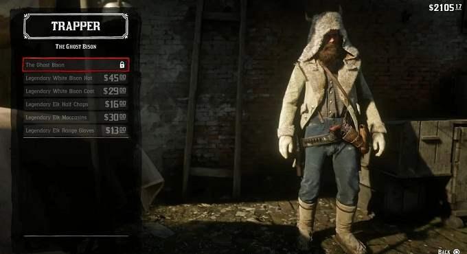 Chapeau manteau bison blanc légendaire dans RDR2