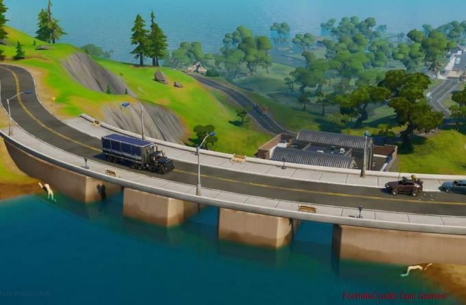 Soluce Fortnite Chapitre 2 défis Grand plongeon lettre E cachée sur barrage nord-ouest de Misty Meadows