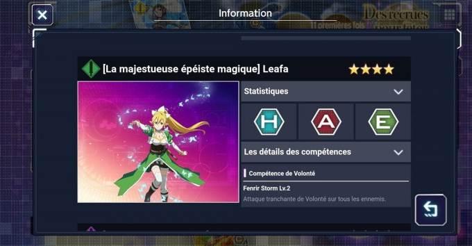 Leafa (La majestueuse épéiste magique) - 4 étoiles - Personnages Sword Art Online Alicization Rising Steel